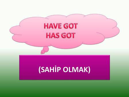 (SAHİP OLMAK). Have / Has got sahip olmak anlamındadır. I, you, we, you, they I, you, we, you, they He, she, it He, she, it.