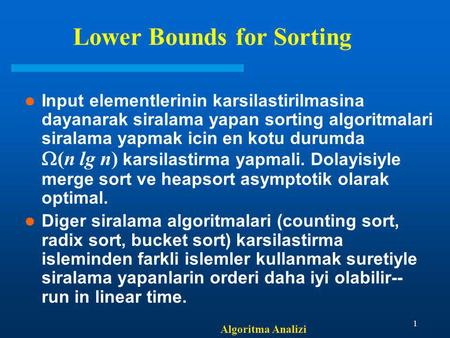 Lower Bounds for Sorting