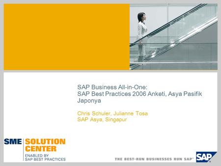 SAP Business All-in-One: SAP Best Practices 2006 Anketi, Asya Pasifik Japonya Chris Schuler, Julianne Tosa SAP Asya, Singapur.