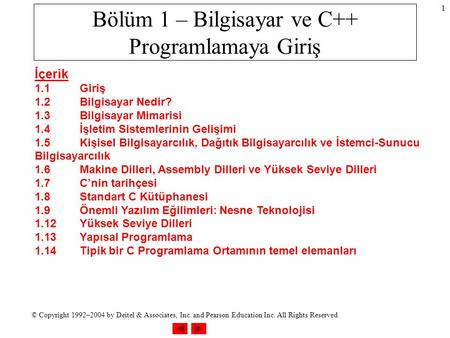© Copyright 1992–2004 by Deitel & Associates, Inc. and Pearson Education Inc. All Rights Reserved. 1 Bölüm 1 – Bilgisayar ve C++ Programlamaya Giriş İçerik.