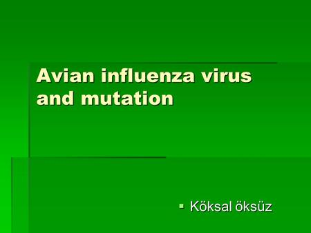 Avian influenza virus and mutation  Köksal öksüz.
