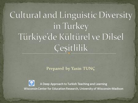 Prepared by Yasin TUNÇ A Deep Approach to Turkish Teaching and Learning Wisconsin Center for Education Research, University of Wisconsin-Madison.