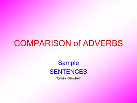 "COMPARISON of ADVERBS Sample SENTENCES ""Örnek cümleler"""