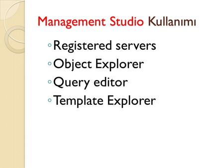 Management Studio Kullanımı