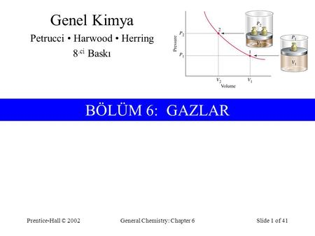 Prentice-Hall © 2002General Chemistry: Chapter 6Slide 1 of 41 BÖLÜM 6: GAZLAR Genel Kimya Petrucci Harwood Herring 8.ci Baskı.