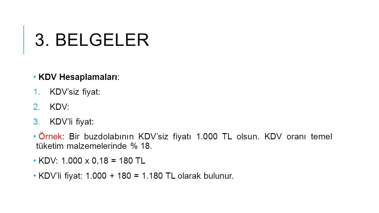 3.BELGELER Örnek: Bir buzdolabının KDV'li fiyatı 1.000 TL olsun.