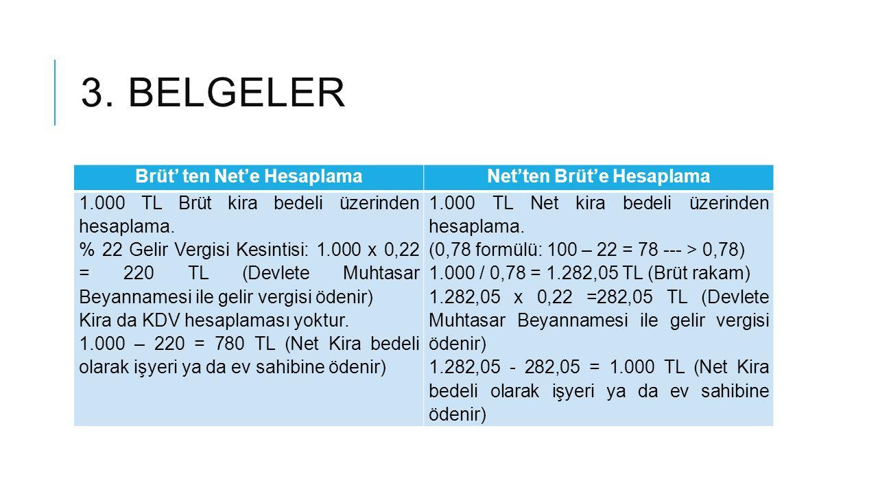 3.BELGELER Kira Makbuzu Nasıl Tanzim Edilir. Örnek 1 500 TL Brüt kira bedeli üzerinden hesaplama.