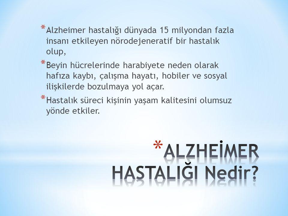 * Alzheimer hastalığı hem ailesel hem sporadik olarak görülen heterojen bir hastalıktır.