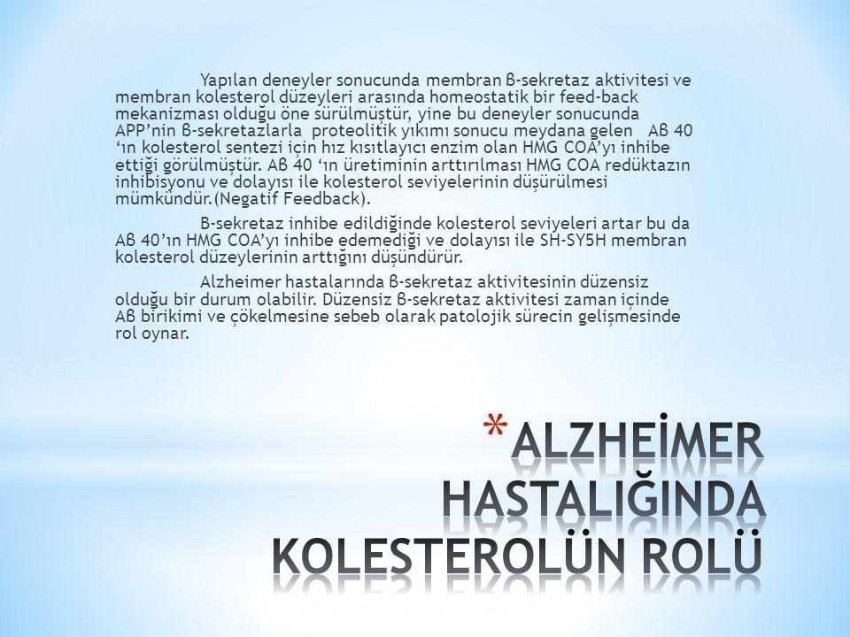 Alzheimer ve Statinler Statinler kolesterol sentezinde HMG-CoA'nın mevalonata dönüşüm basamağında rol alıp kilit görevi gören düzenleyici enzim HMG- CoAR'nin kompetetif inhibitörleridirler.
