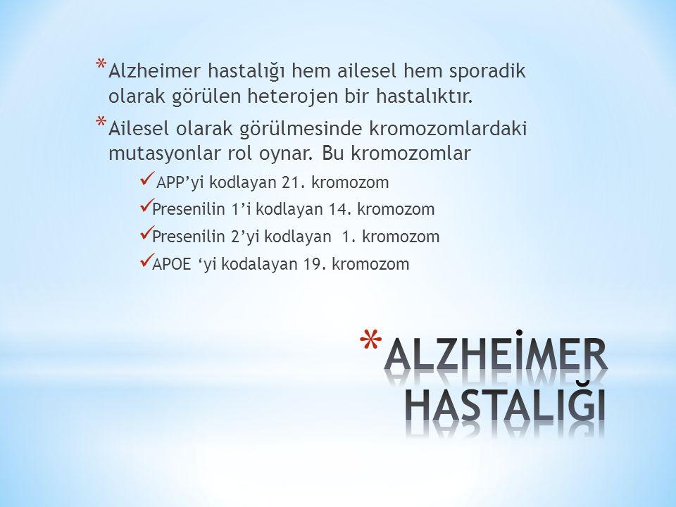 * Alzheimer hastalığı için kesin olarak kabul edilen risk faktörleri yaş, aile APOE e4 alelidir.