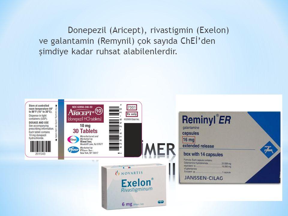 1.2.Memantin Memantin (FDA onayı 2003) düşük afiniteli bir NMDA reseptör antagonistidir.