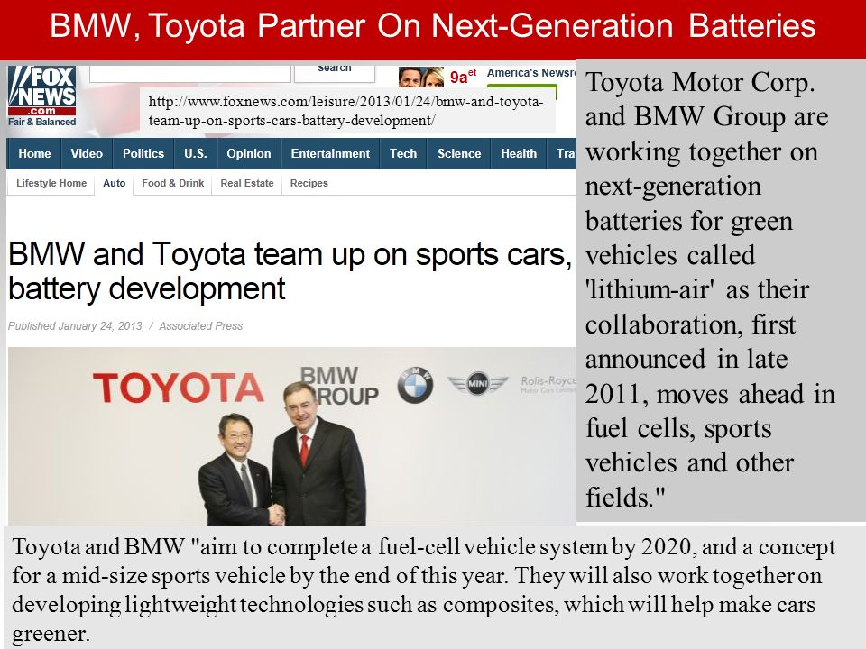 Joint R&D in Hydrogen Cars by Ford, Daimler, Nissan Each company will invest equally in the technology.