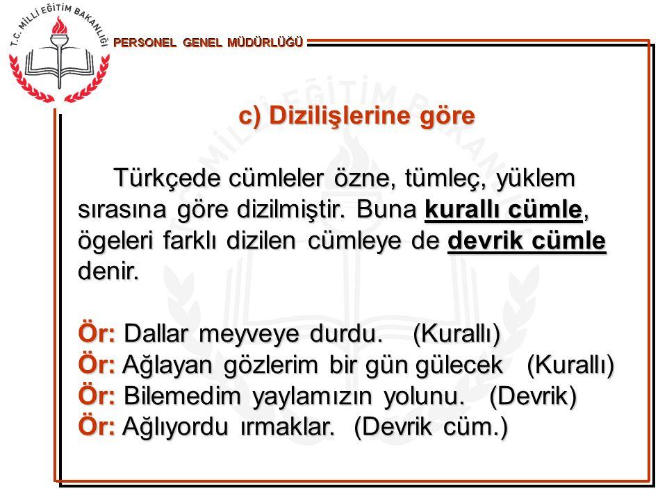 d) Yüklemlerine Göre (İsim-fiil ) Yüklemi isim soyundan olan cümlelere isim, fiil soyundan olan cümlelere fiil cümlesi denir Yüklemi isim soyundan olan cümlelere isim, fiil soyundan olan cümlelere fiil cümlesi denir Ör: Türkiye'nin başkenti Ankara'dır.