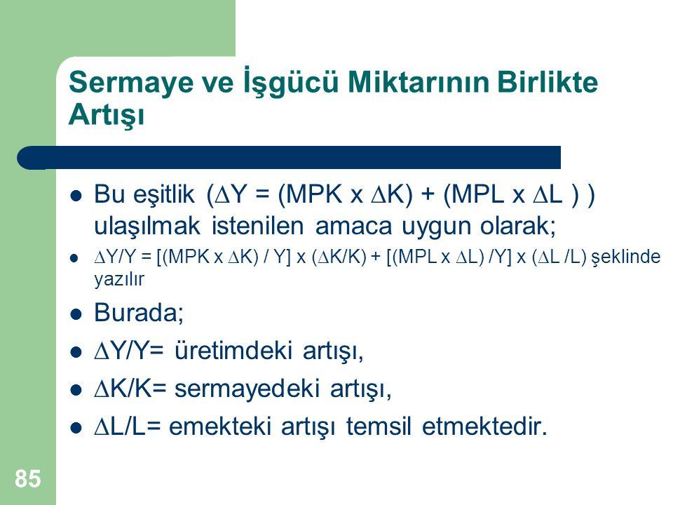 86 Sermaye ve İşgücü Miktarının Birlikte Artışı  Y/Y = [(MPK x  K) / Y] x (  K/K) + [(MPL x  L) /Y] x (  L /L) Parantez içindeki değerler; Sermayenin marjinal verimliliği sermayenin gerçek değerini (fiyatını) yansıtmaktadır.