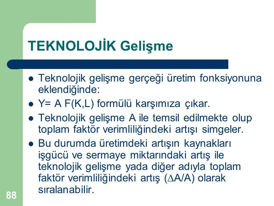 89 TEKNOLOJİK Gelişme  Y/Y = α x (  K / K) + (1- α) x (  L / L)+  A / A büyüme fonksiyonu teknolojik değişimi de kapsar.