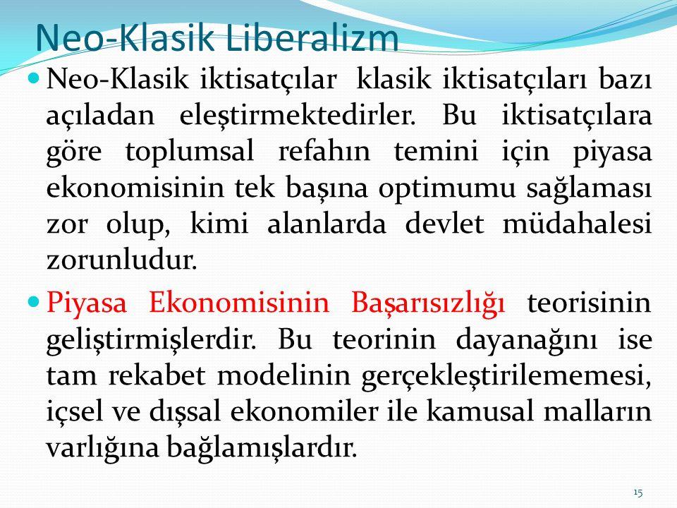 Neo-Klasik Liberalizm Neo-Klasikleriktisatçılar Aksak rekabetin olumsuz sonuçlarının ortadan kaldırılmasını, Pozitif dışsallığın bulunduğu alanlardaki faaliyetlerin devletçe desteklenmesini, negatif dışsallığın bulunduğu faaliyetlerin de ya bizzat devletçe yapılmasını ya da bu faaliyetleri yapan özel birimlerin düzenleyici vergiler gibi kurallara tabi tutulmalarını savunurlar.