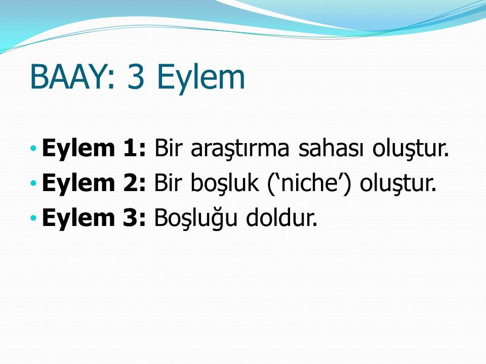 BAAY: 3 Eylem ve Adımları Eylem 1: Bir araştırma alanı oluştur.