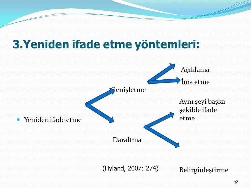 Genişletme Bir bilgiyi genişleterek yeniden ifade etmek Okuyucunun anlayışını genişletmek Açıklama yapma ya da ima etme (Hyland, 2007) 39