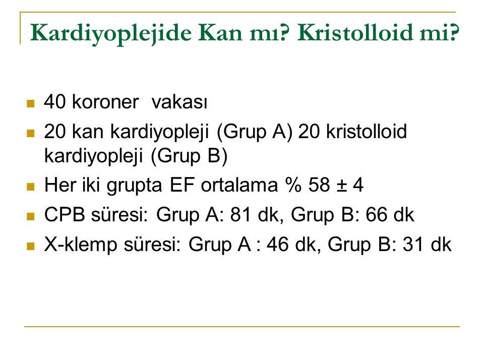 Kardiyoplejide Kan mı Kristolloid mi.