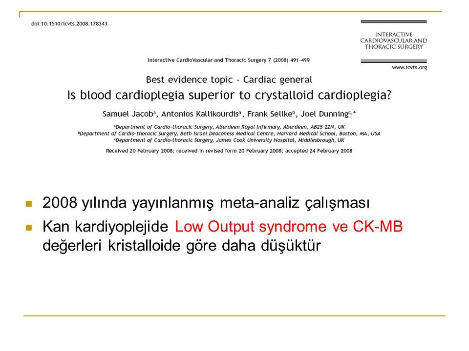 2006 yılında yayınlanmış meta-analiz çalışması Kan kardiyoplejisi ölüm insidanası ve myokard infarktüsü oranları benzerdir Low Output syndrome ve CK-MB değerleri daha düşüktür.