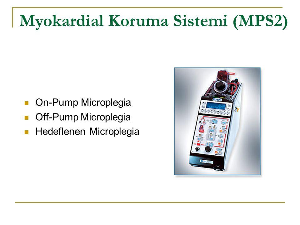 On-Pump Mikropleji Düşük hemodilüsyon ve myokardial ödem Düşük hemokonsantrasyon ve kan transfüzyon ihtiyacı Gelişmiş K + ve glikoz yönetimi ile daha iyi spontan defibrilasyon Gelişmiş basınç, hava ve ısı kontrolü Myokardial Koruma Sistemi (MPS2)