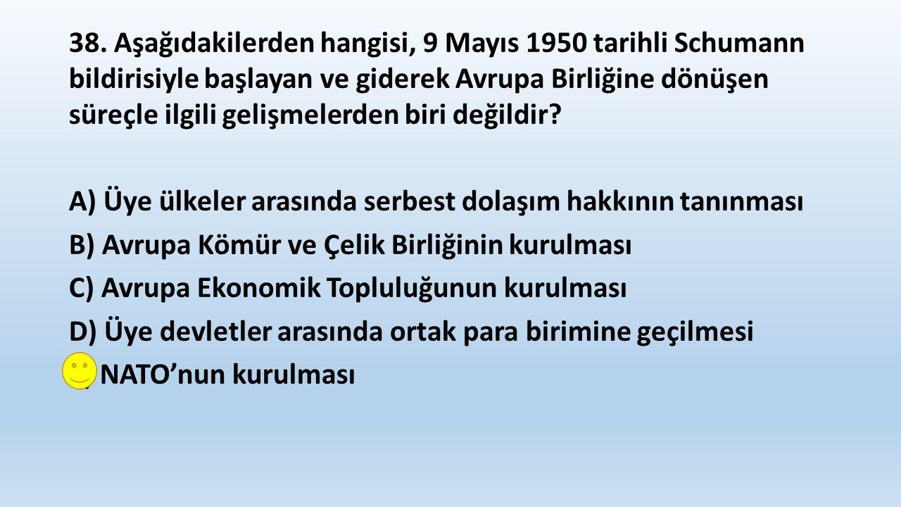 39.Aşağıdaki olaylardan hangisinin sonucunda 1924 Anayasası yürürlükten kaldırılmıştır.