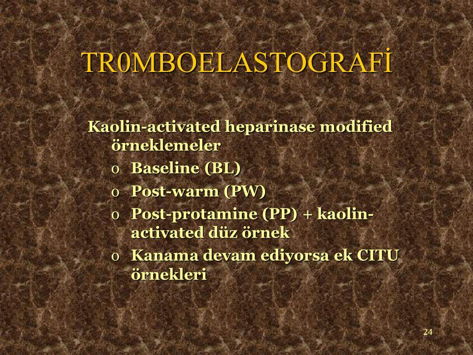 25 o Pıhtı oluşumu  Pıhtılaşma faktörleri - r, k times o Pıhtı kinetiği  Pıhtılaşma Faktörleri - r, k times  Trombositler - MA o Pıhtı direnci / stabilitesi  Trombositler - MA  Fibrinojen - Reopro-mod MA o Pıhtı Rezolüsyonu  Fibrinoliz - LY30/60; EPL A30/60 A30/60 TR0MBOELASTOGRAFİ