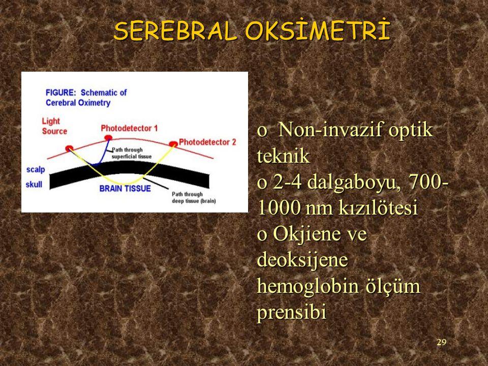 30 SEREBRAL OKSİMETRİ Rejyoner Serebral Oksijen Saturasyon Indeksi (rSO2i) o Hemodinamik instabilite, rewarming safhasında rSO2i düşer o Soğukken ve kardiyak debi düzelirken yükselir oHer hasta kendinin kontrolü ve %20 üzeri düşmeler tedavi gerektirir