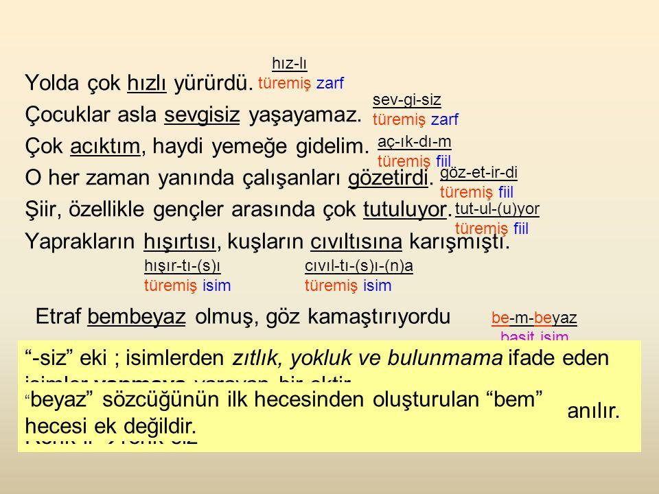 SORU: Altı çizili sözcükleri yapıları bakımından inceleyiniz.