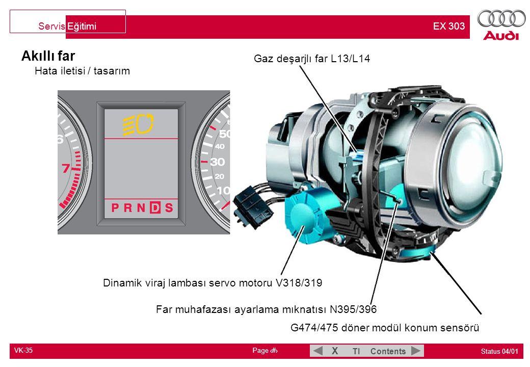 VK-35 Page 4 Status 04/01 TI Contents X Servis Eğitimi EX 303 Akıllı far CAN İletişimi Giriş ve marş yetkilendirmesi kontrol ünitesi J518 Terminal X Terminal 50 Far yükseklik ayarı kontrol ünitesi J431 Direksiyon açısı sensörü G85 Direksiyon simidi açısı* Direksiyon simidi açı hızı* EDS'li ABS kontrol ünitesi J104 Tekerlek hızları* Hareket yönleri* Fren lambası anahtarı sinyali Savrulma hızı* Fren basıncı Veri busu arıza teşhis arayüzü J533 Araç üstü güç kaynağı kontrol ünitesi J519 Kısa huzme açık*