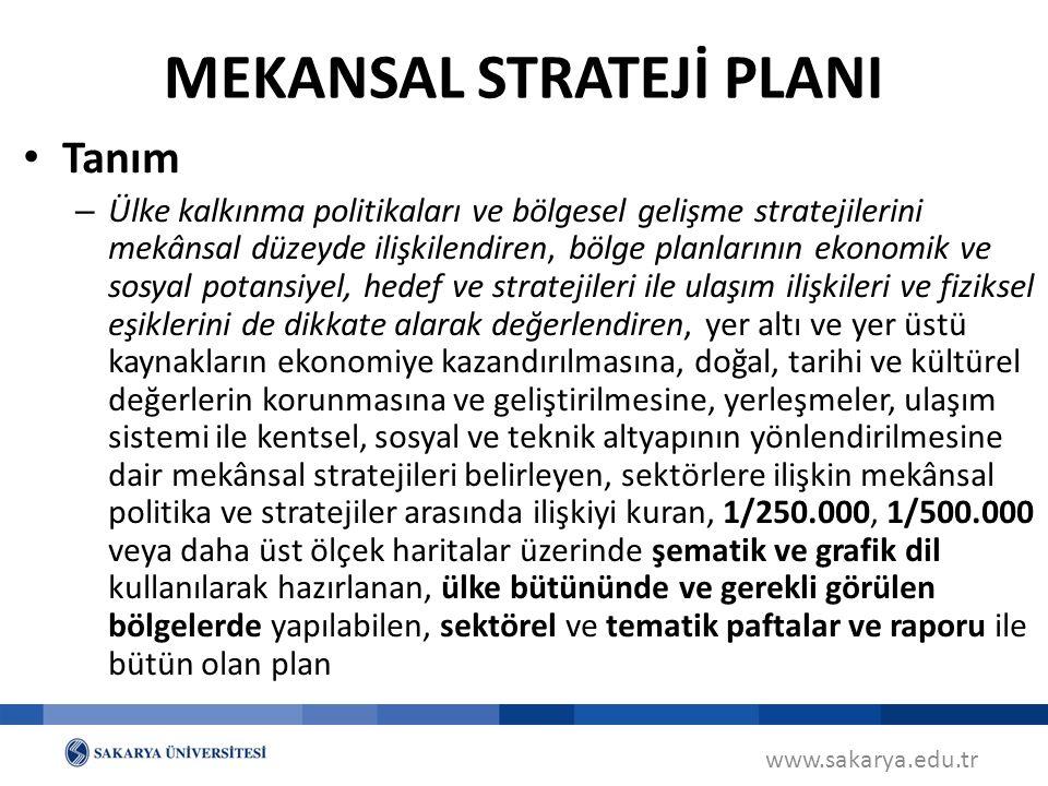 www.sakarya.edu.tr Planlama Alanına Göre Mekânsal Strateji Planlarının Türleri (MPYY m.