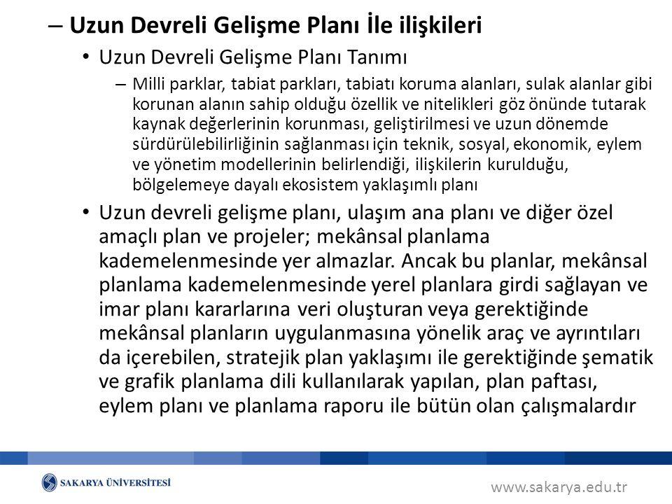 www.sakarya.edu.tr Mekânsal Planların Planlama İlke ve Esasları – Kamu yararı – Planlar; pafta, gösterim, plan notları ve plan raporu ile bir bütündür – Her plan, kademesine ve ölçeğine göre ve yapılış amacının gerektirdiği ayrıntı düzeyinde kalmak koşuluyla alt kademedeki planları yönlendirir – Üst kademe planlar, alt kademesindeki planlara mekânsal nitelikte hedef koyan, yol gösteren ve ilke belirleyen planlardır GENEL PLANLAMA ESASLARI
