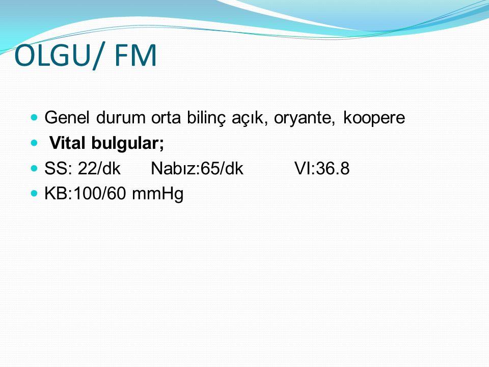 OLGU/ FM Baş boyun: konjuktiva soluk, siklera subikterik KVS: Aort odakta 2/6 sistolik üfürüm Abdomen: Karın distandü görünümde, sağ flank bölgede insizyon skarı mevcut, palpasyonda yaygın hassasiyet+, defans ve rebound yok, umblikus üstü açıklığı yukarı bakan asit ile uyumlu matite+, traube kapalı, asit nedeniyle karaciğer ve dalak net değerlendirilemedi.