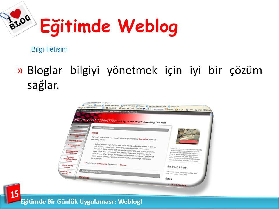 Eğitimde Weblog Ocak 2009 tarihinde 717 blog kullanıcısıyla yapılan Türkiye' de Blog Yazarlığı Araştırma Raporu – blogların yalnızca %24'ün eğitim amaçlı kullanıldığını göstermektedir. 16 Eğitimde Bir Günlük Uygulaması : Weblog!