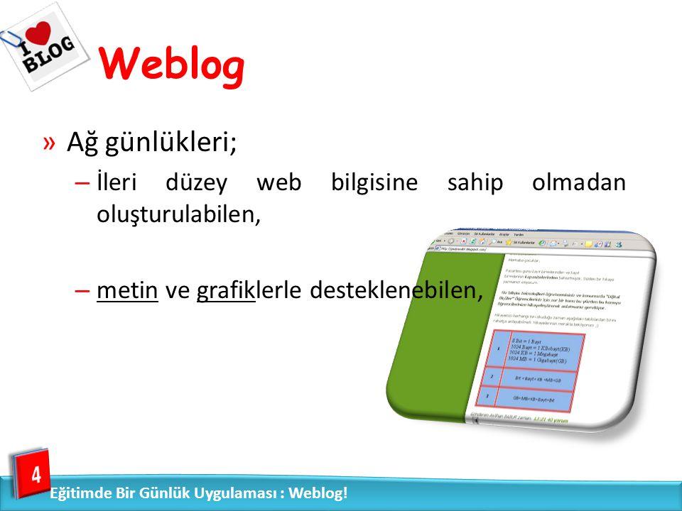 Weblog – yazarların yazıları hakkında yorumlar alabildiği, 5 Eğitimde Bir Günlük Uygulaması : Weblog!