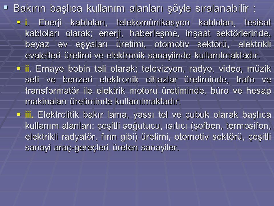  Türkiye'de Durum  Ülkemizde blister bakır, Karadeniz Bakır İşletmeleri A.Ş.