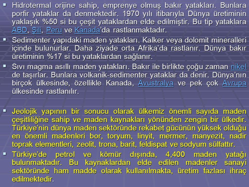  Bugün, Türk madencilik sektöründe 53 farklı maden ve mineralin üretimi yapılmaktadır.