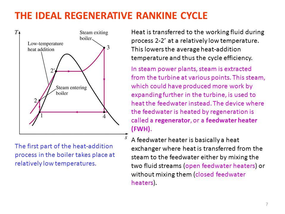 8 Open Feedwater Heaters The ideal regenerative Rankine cycle with an open feedwater heater.
