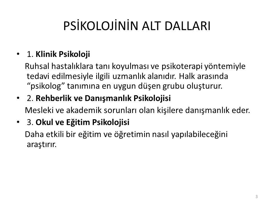4 PSİKOLOJİNİN ALT DALLARI 4.