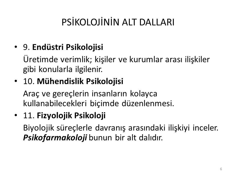 7 PSİKOLOJİNİN ALT DALLARI 12.
