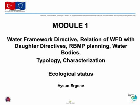 MODULE 1 Water Framework Directive, Relation of WFD with Daughter Directives, RBMP planning, Water Bodies, Typology, Characterization Ecological status.