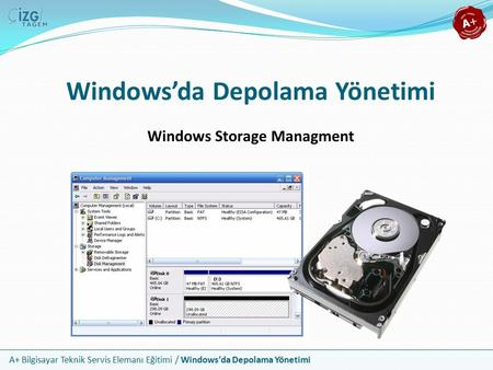 A+ Bilgisayar Teknik Servis Elemanı Eğitimi / Windows'da Depolama Yönetimi Windows'da Depolama Yönetimi Windows Storage Managment.