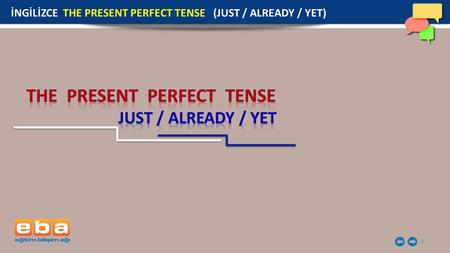 1 İNGİLİZCE THE PRESENT PERFECT TENSE (JUST / ALREADY / YET)