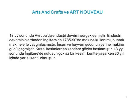 Arts And Crafts ve ART NOUVEAU