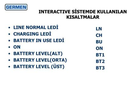 INTERACTIVE SİSTEMDE KULLANILAN KISALTMALAR LINE NORMAL LEDİ CHARGING LEDİ BATTERY IN USE LEDİ ON BATTERY LEVEL(ALT) BATTERY LEVEL(ORTA) BATTERY LEVEL.