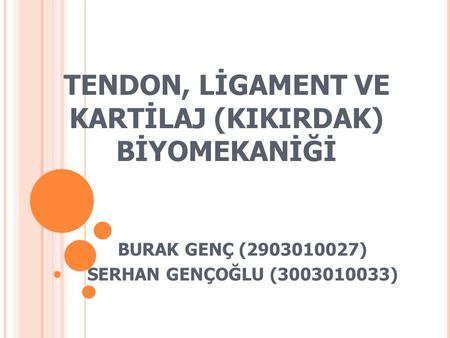 TENDON, LİGAMENT VE KARTİLAJ (KIKIRDAK) BİYOMEKANİĞİ