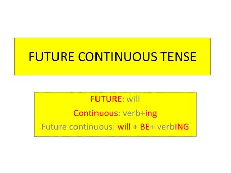 FUTURE CONTINUOUS TENSE FUTURE: will Continuous: verb+ing Future continuous: will + BE+ verbING.