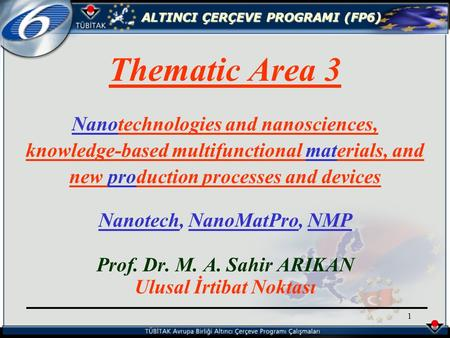 ALTINCI ÇERÇEVE PROGRAMI (FP6) 1 Thematic Area 3 Nanotechnologies and nanosciences, knowledge-based multifunctional materials, and new production processes.
