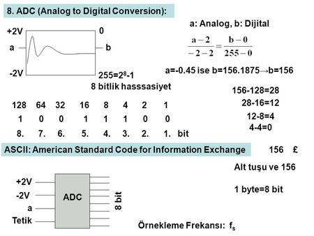 -2V +2V ab 0 255=2 8 -1 8 bitlik hasssasiyet a: Analog, b: Dijital a=-0.45 ise b=156.1875→b=156 8. ADC (Analog to Digital Conversion): 128 64 32 16 8 4.