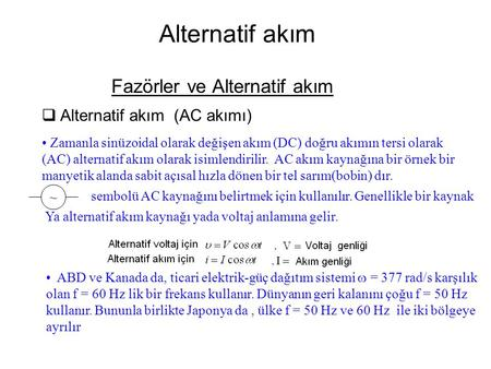 Fazörler ve Alternatif akım